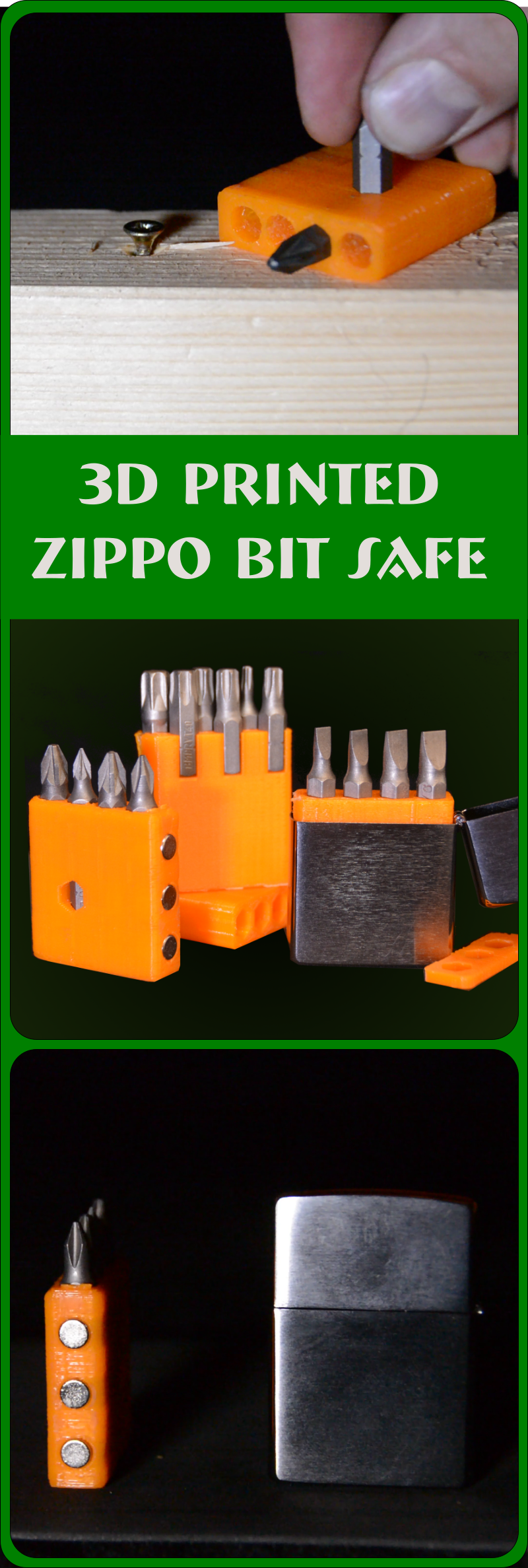 Creating a 3d printed holder for screwdriver bits that fits in a Zippo as part of your EDC