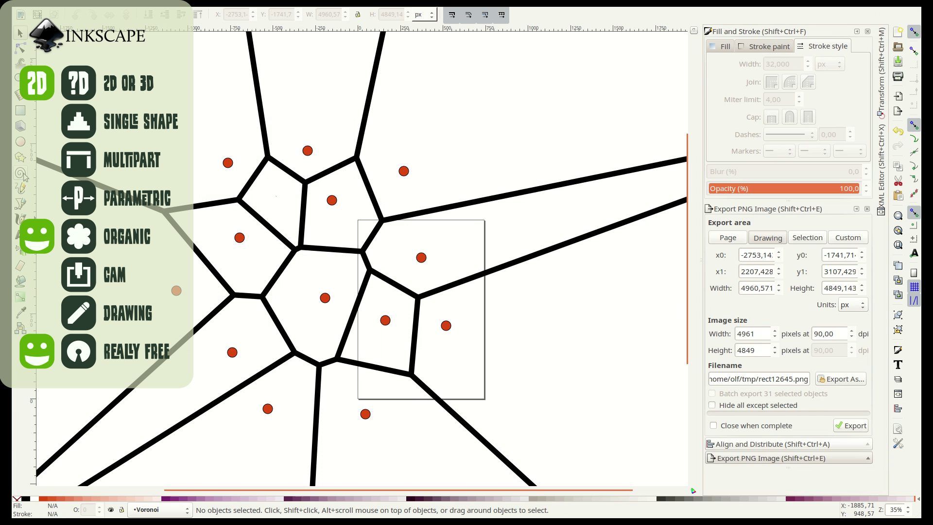 Free Cad Software For Makers Way Of Wood Inkscape39s New Voronoi Diagram Generator The Circles Are Created Besides Templates Inkscape Can Also Produce Shapes A Lasercutter Or Cnc Machine And It Even Includes Simple Cam Solution That Create Gcode